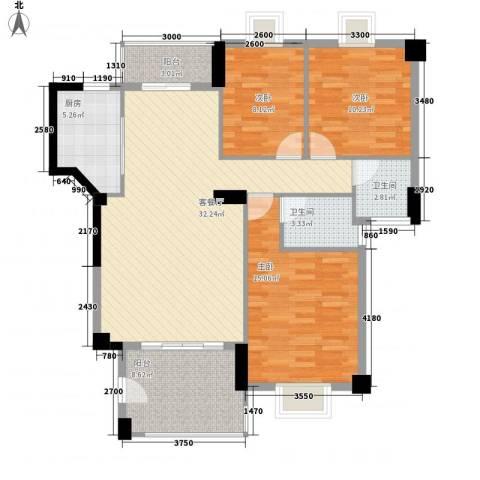 未来海岸系天心岛3室1厅2卫1厨88.67㎡户型图
