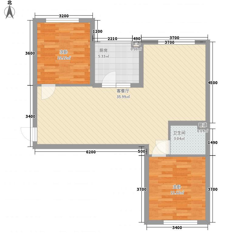 岭城一号85.70㎡二期B3户型2室2厅1卫1厨