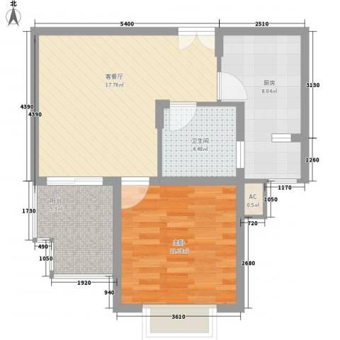 鹏欣一品漫城二期1室1厅1卫1厨60.00㎡户型图