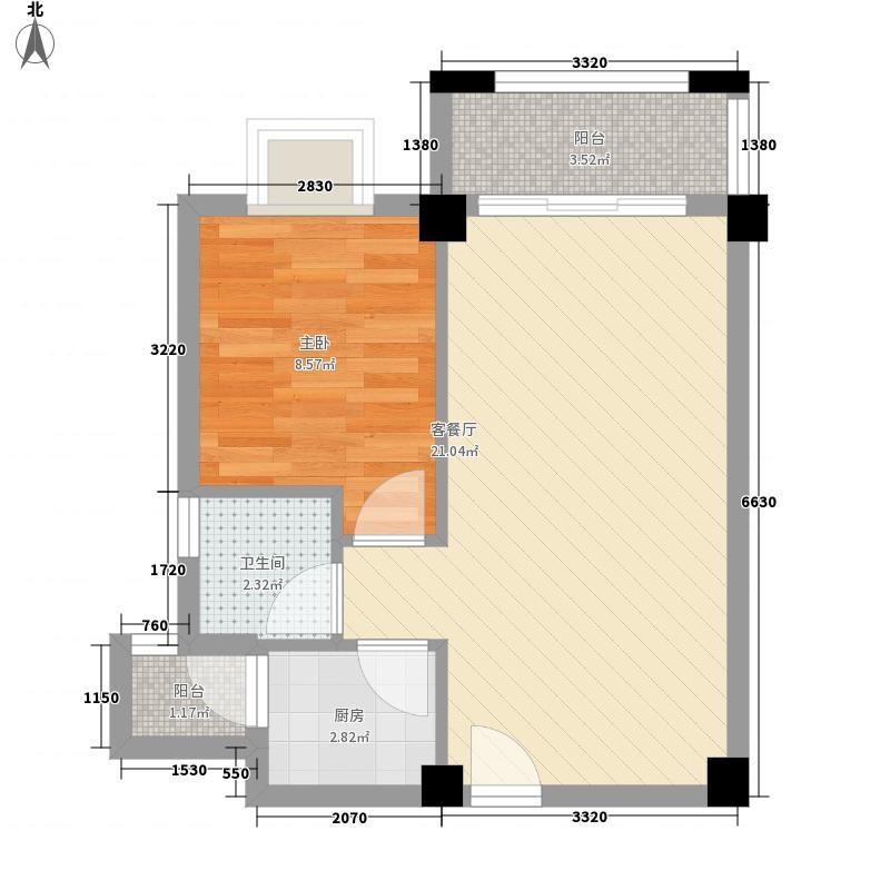 金品花园57.31㎡2#B2户型1室2厅1卫1厨
