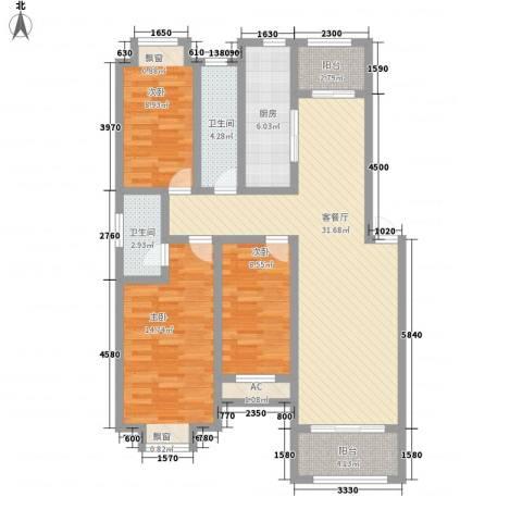 和园小区3室1厅2卫1厨127.00㎡户型图