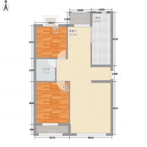 铭熙水岸2室1厅1卫1厨92.00㎡户型图
