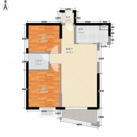 未来海岸系天心岛2室1厅1卫1厨94.00㎡户型图