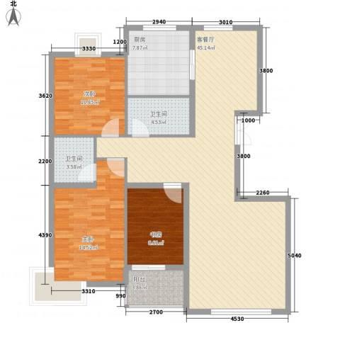 铭熙水岸3室1厅2卫1厨129.00㎡户型图