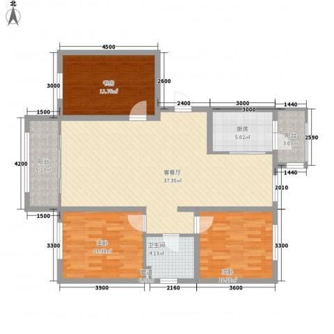 阳光乘风新城3室1厅1卫1厨117.00㎡户型图