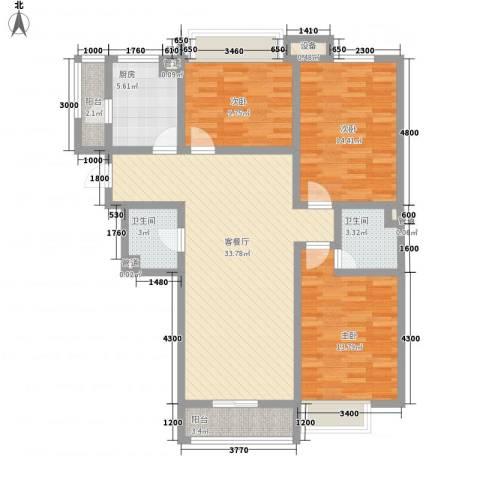 南奥国际3室1厅2卫1厨126.00㎡户型图
