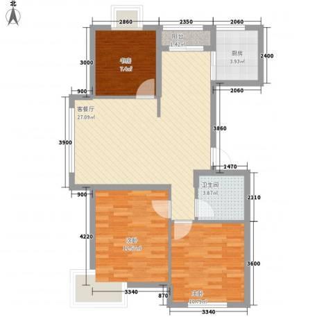 铭熙水岸3室1厅1卫1厨96.00㎡户型图