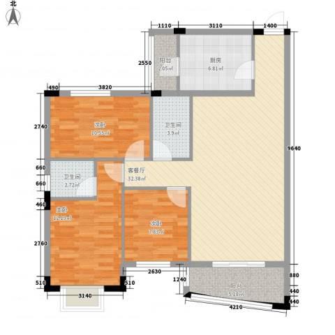 蔚蓝星湖三期3室1厅2卫1厨98.00㎡户型图