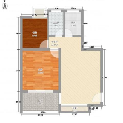 万泉河家园2室1厅1卫1厨68.00㎡户型图