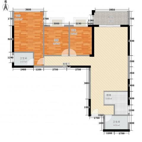 新城国际3室1厅2卫1厨98.59㎡户型图