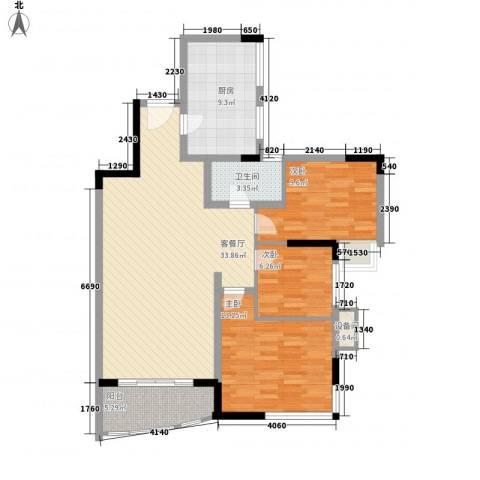 蔚蓝星湖三期3室1厅1卫1厨116.00㎡户型图