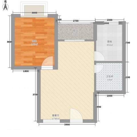 万泉河家园1室1厅1卫1厨46.00㎡户型图