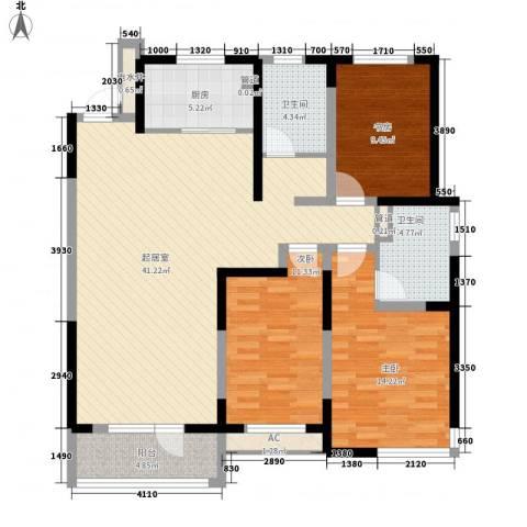 万科城5期万科城华府3室0厅2卫1厨140.00㎡户型图