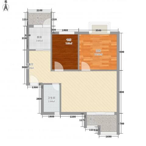 万泉河家园2室1厅1卫1厨70.00㎡户型图