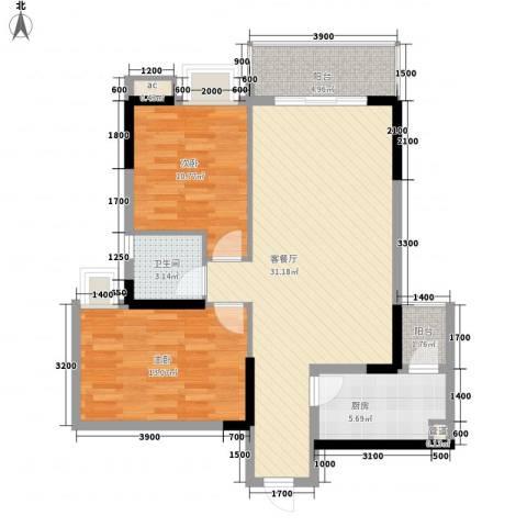 金海怡景花园2室1厅1卫1厨80.96㎡户型图