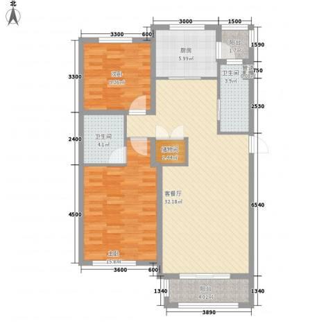中环滨江花园2室1厅2卫1厨113.00㎡户型图