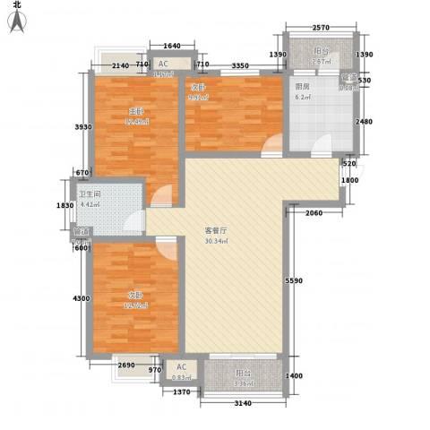 南奥国际3室1厅1卫1厨118.00㎡户型图