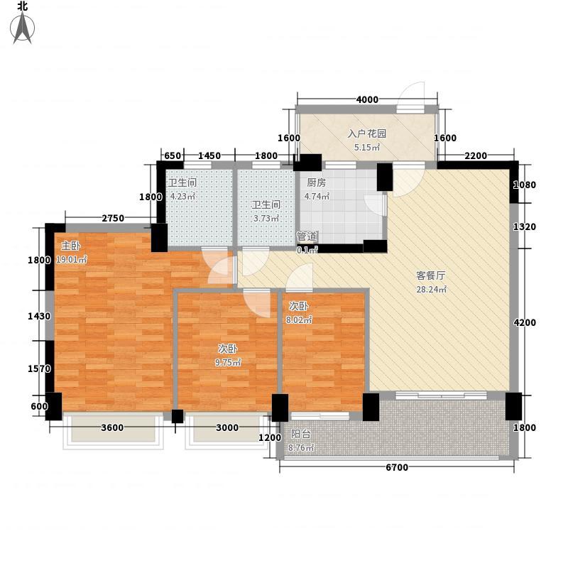 水岸华府113.80㎡8号楼2单元03单数层户型3室2厅2卫1厨