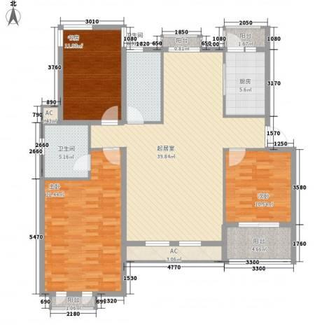 千鹤园小区3室0厅2卫1厨112.52㎡户型图