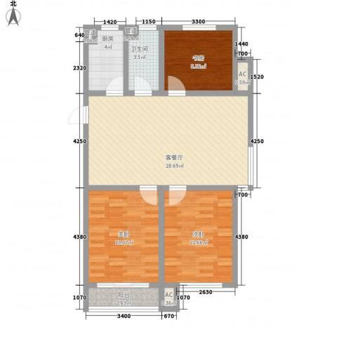 南奥国际3室1厅1卫1厨104.00㎡户型图