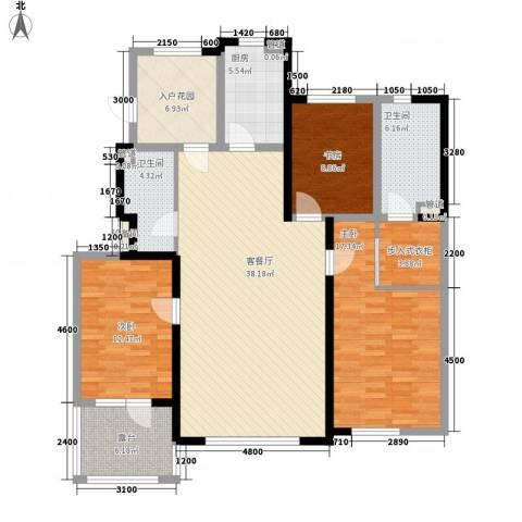 听雨观澜3室1厅2卫1厨132.00㎡户型图