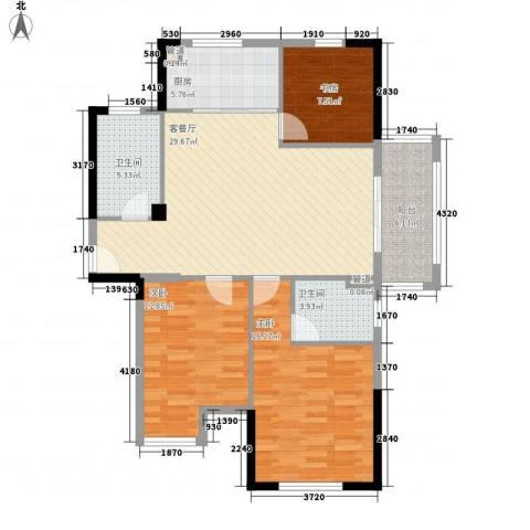 星汇半岛二期3室1厅2卫1厨123.00㎡户型图
