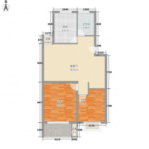 枫情国度佳园2室1厅1卫1厨104.00㎡户型图