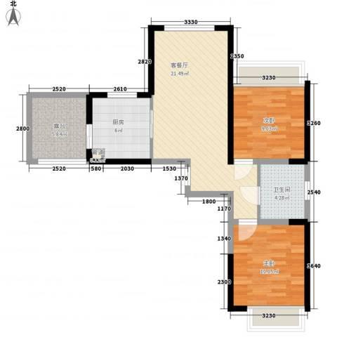 建业时光原著2室1厅1卫1厨82.00㎡户型图