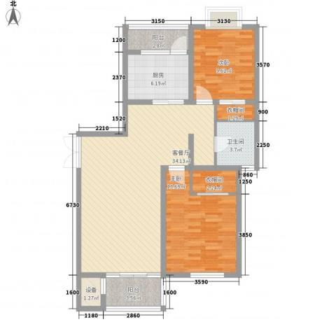 大华颐和华城2室1厅1卫1厨114.00㎡户型图