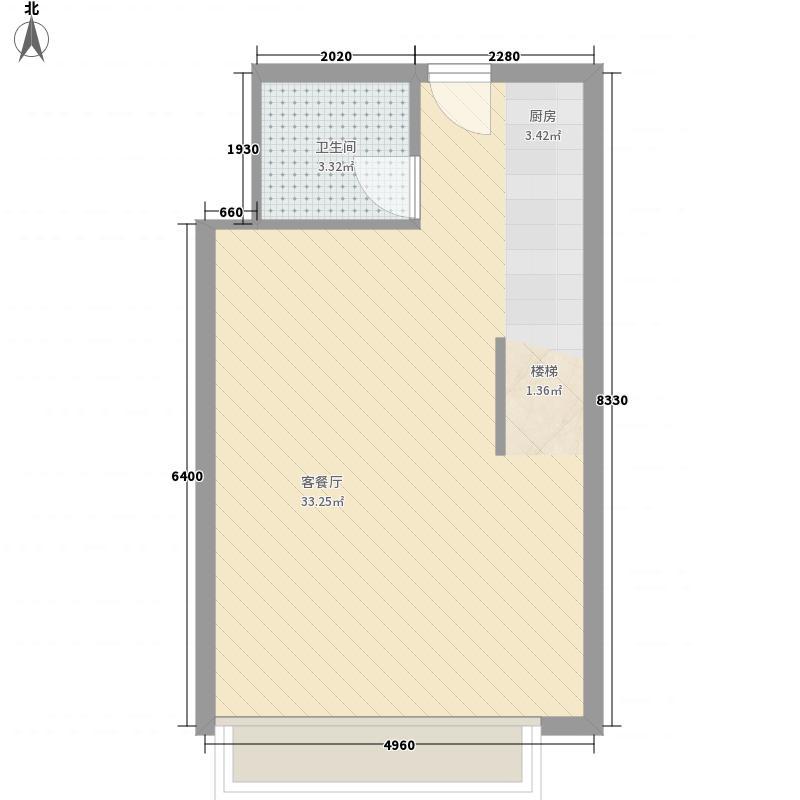 YOU盘时代(公寓)50.00㎡YOU盘时代户型图LOFT-B-一层平面图2室2厅2卫1厨户型2室2厅2卫1厨