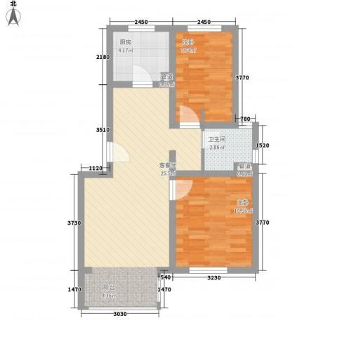 巨龙台湾城2室1厅1卫1厨74.00㎡户型图