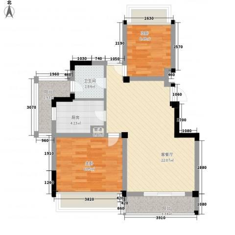 建业时光原著2室1厅1卫1厨79.00㎡户型图
