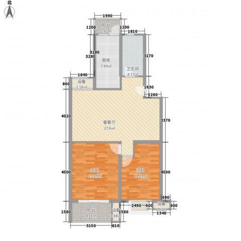 枫情国度佳园2室1厅1卫1厨105.00㎡户型图