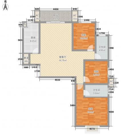港岛玫瑰园3室1厅2卫1厨141.00㎡户型图