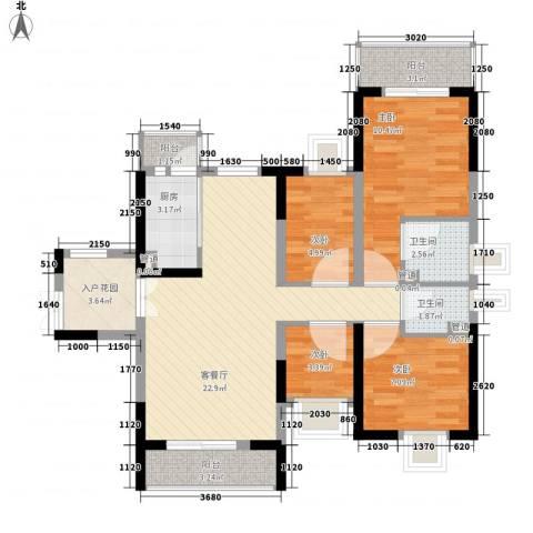 宝兴花园4室1厅2卫1厨100.00㎡户型图