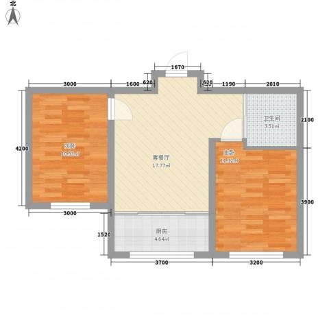 岭城一号2室1厅1卫1厨63.00㎡户型图