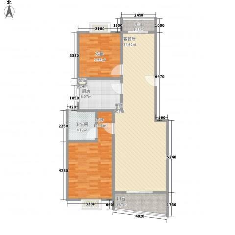 林与堂2室1厅1卫1厨108.00㎡户型图