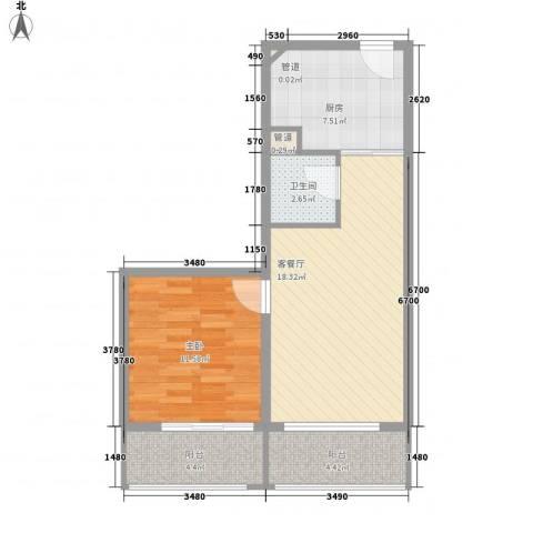 碧云晶典1室1厅1卫1厨69.00㎡户型图