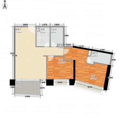 日月光中心伯爵居2室1厅2卫1厨104.00㎡户型图