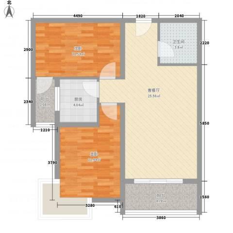 金东中环城2室1厅1卫1厨73.06㎡户型图