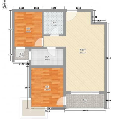 金东中环城2室1厅1卫1厨73.07㎡户型图