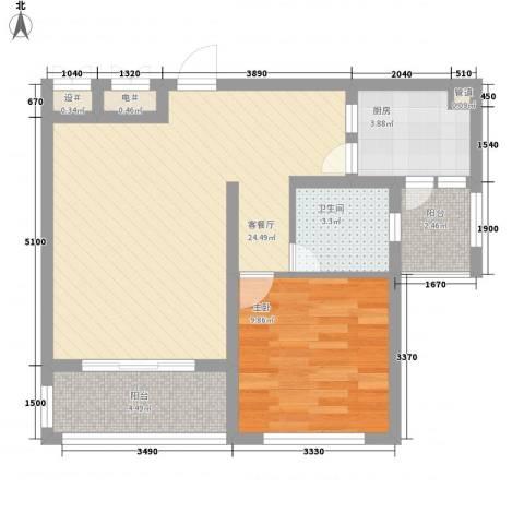 丽和阳光城1室1厅1卫1厨62.00㎡户型图