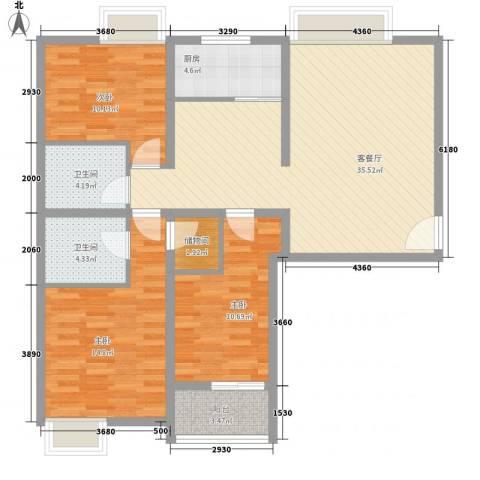 金东中环城3室1厅2卫1厨102.52㎡户型图
