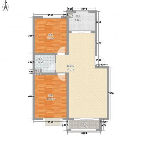 新湖印象江南二期2室1厅1卫1厨94.00㎡户型图