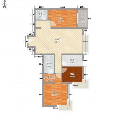 金东中环城3室1厅2卫1厨101.44㎡户型图