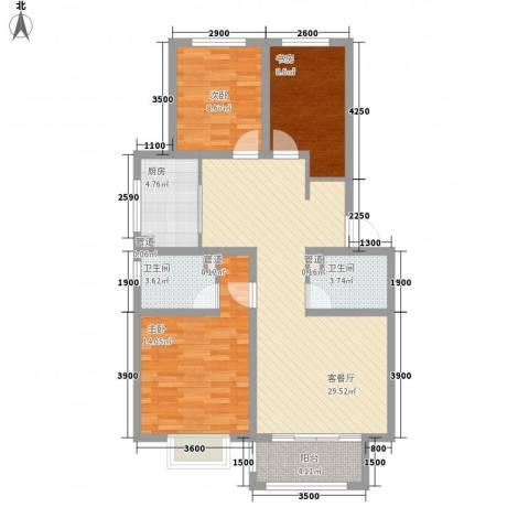 新湖印象江南二期3室1厅2卫1厨104.00㎡户型图