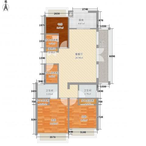 郡原九润公寓3室1厅2卫1厨119.00㎡户型图