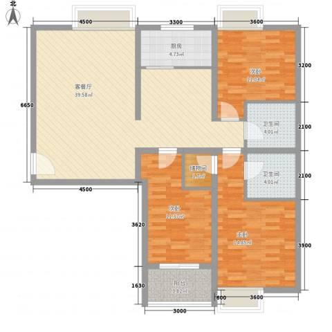 金东中环城3室1厅2卫1厨108.31㎡户型图