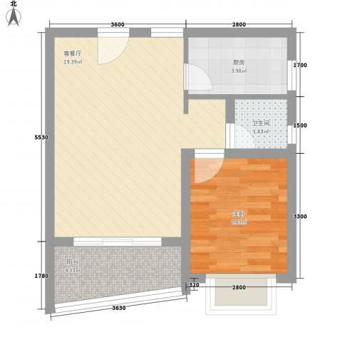万泉河家园1室1厅1卫1厨49.00㎡户型图
