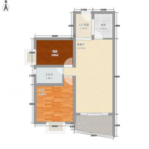 万泉河家园2室1厅1卫1厨77.00㎡户型图